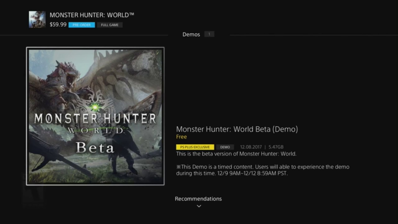 Monster Hunter World Beta How to download plus when does it start