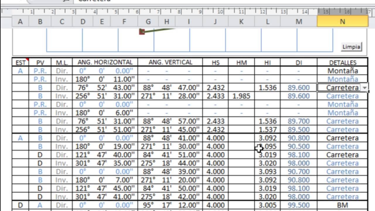 LEVANTAMIENTO CON TEODOLITO (4 de 4) - Procesamiento en Excel - YouTube