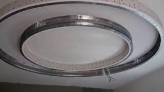 видео круг из гипсокартона на потолке