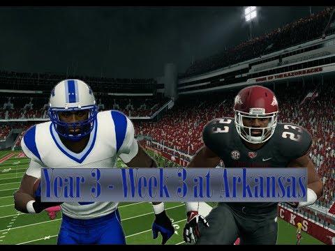 NCAA Football 14 Baltimore State Dynasty Year 3 - W3 @ Arkansas