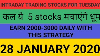 Intraday trading strategy for 28 january 2020 | With Chart Explanation | Sure Profit