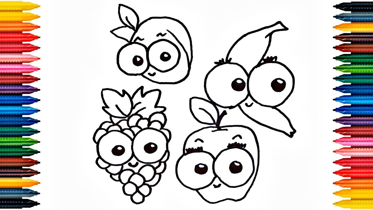Drawing Fruits Apple Banana Grapes Strawberry How to Draw Fruits