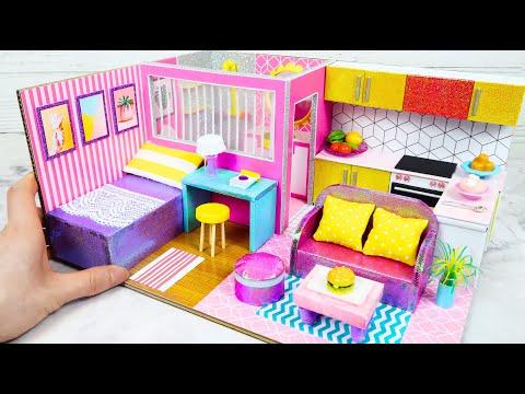 DIY Miniature Cardboard House #19   bathroom, kitchen, bedroom, living room for a family