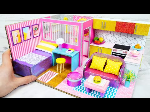 DIY Miniature Dollhouse with Cardboard #19   Bathroom, Kitchen, Bedroom, Living room