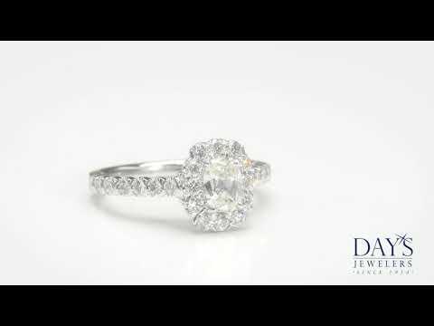 Henri Daussi Cushion Diamond Halo Engagement Ring in 18kt White Gold (1 1/2ct tw)