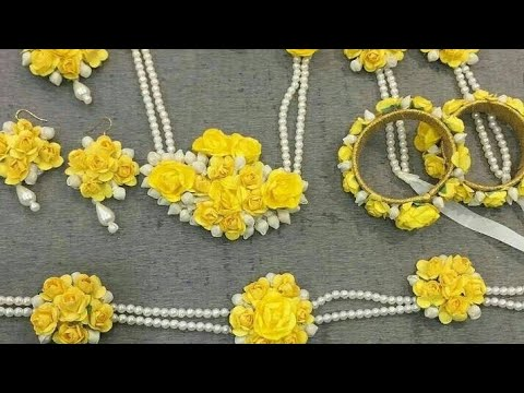 How to make flower jewellery at home for haldi ceremony