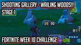 """Get a score of 5 or more at the shooting gallery east of Wailing Woods"" LOCATION! Week 10 Fortnite"