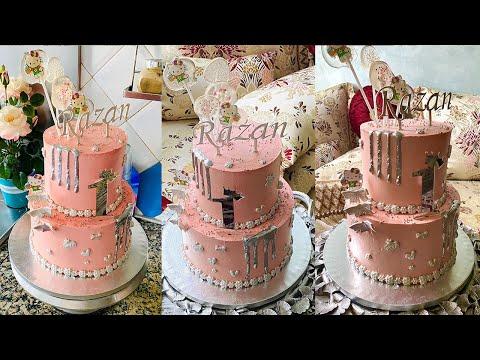 drip-cake*بدون-عجينة-سكر-طورطة-للأطفال-من-طبقتين-للمناسبات-بحشوات-جديدة-وعدة-تقنيات-في-التزيين