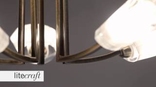Kay 5 Light Semi Flush Ceiling Light - Antique Brass  | Litecraft - Lighting Your Home