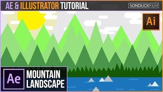 After Effects Animation Illustrator Tutorial: Mountain Landscape | Inspired by Kurzgesagt