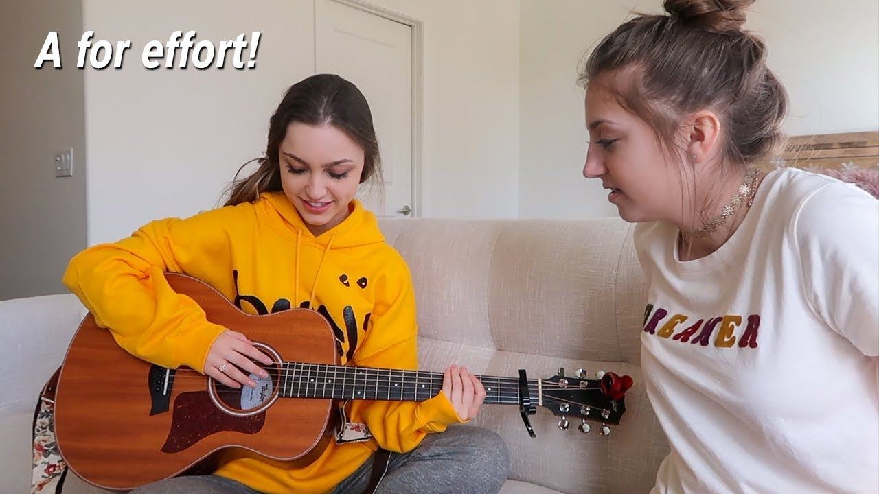 kamri tries teaching me how to play the guitar youtube. Black Bedroom Furniture Sets. Home Design Ideas