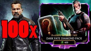 MK Mobile. Trying To Max Dark Fate Terminator for a Fan. 100 Dark Fate Diamond Pack Opening!