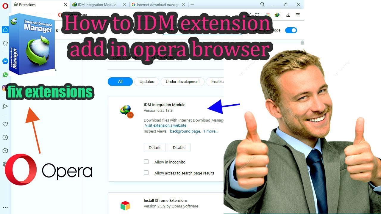 Adding IDM Extension To Opera Browser || internet download ...