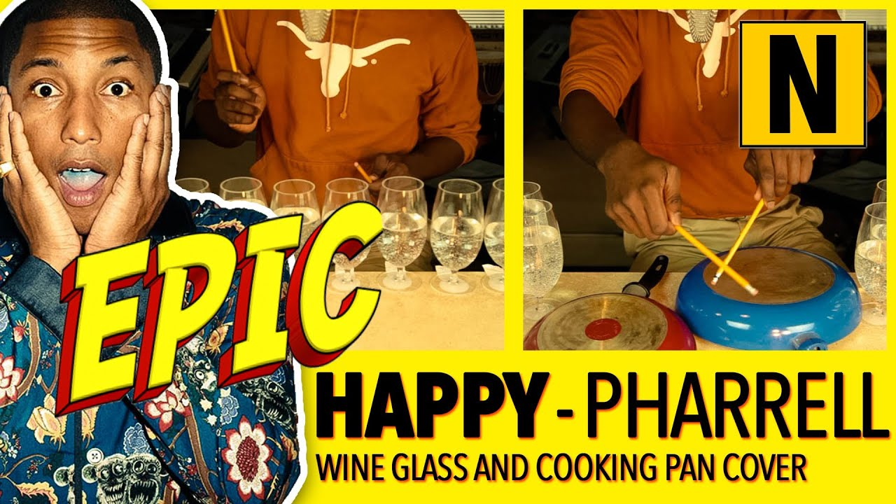 HAPPY (Pharrell Williams) on wine glasses, pots and pans