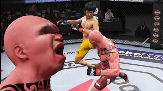 UFC Bruce Lee vs Primitive man Attack with a powerful kick on the face.