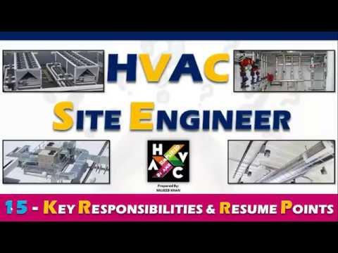 HVAC Site Engineer - Key Job Responsibility & Resume Points.