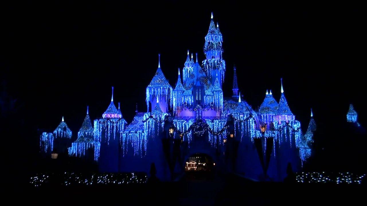 2011 Disneyland Castle Christmas Decorations Nighttime HD 1080p