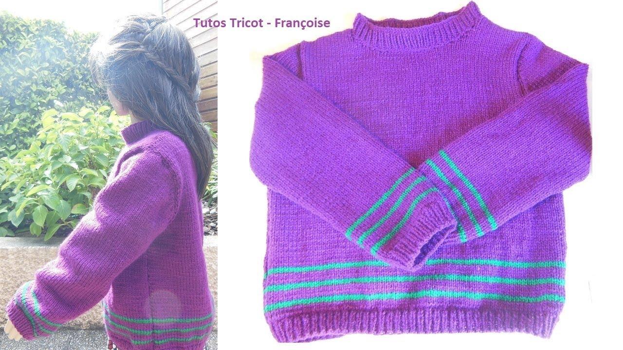 tuto tricot pull enfant facile r aliser 6 8 10 ans c tes 1 1 et jersey endroit pull mixte. Black Bedroom Furniture Sets. Home Design Ideas