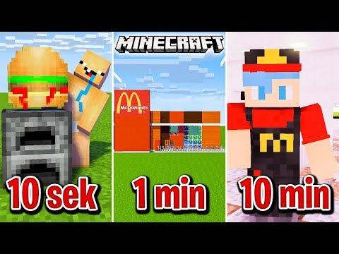 🍔 Minecraft BUDUJĘ McDonald's W 10 SEKUND, 1 MINUTĘ I 10 MINUT!