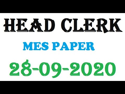 MES Head Clerk Paper / 28-09-2020. Advanced knowledge world. Complete solved paper