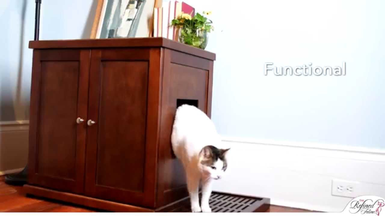 Refined Litter Box. A Cat Litter Box Cabinet From The Refined Feline    YouTube