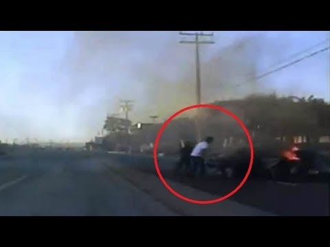 El Segundo police saves woman from burning car