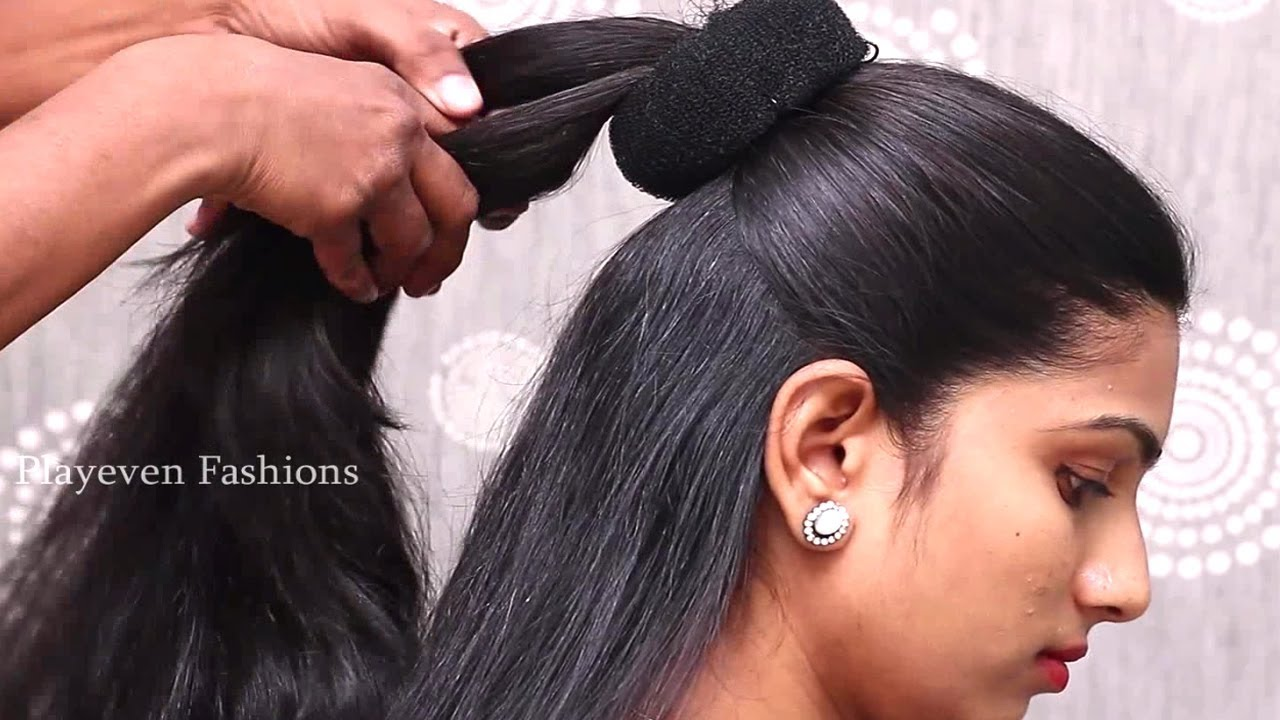 Easy Wedding Guest Hairstyle In Sarees Hairstyles For Medium Long Hair Hair Style Girl