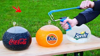 Experiment: Slingshot vs Balloons of Coke, Fanta, Sprite