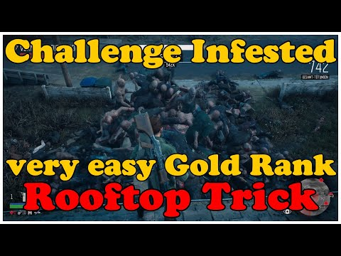 Days Gone very easy Gold Medal Rank Horde Challenge Infested Week 7 Rooftop Trick Gameplay |