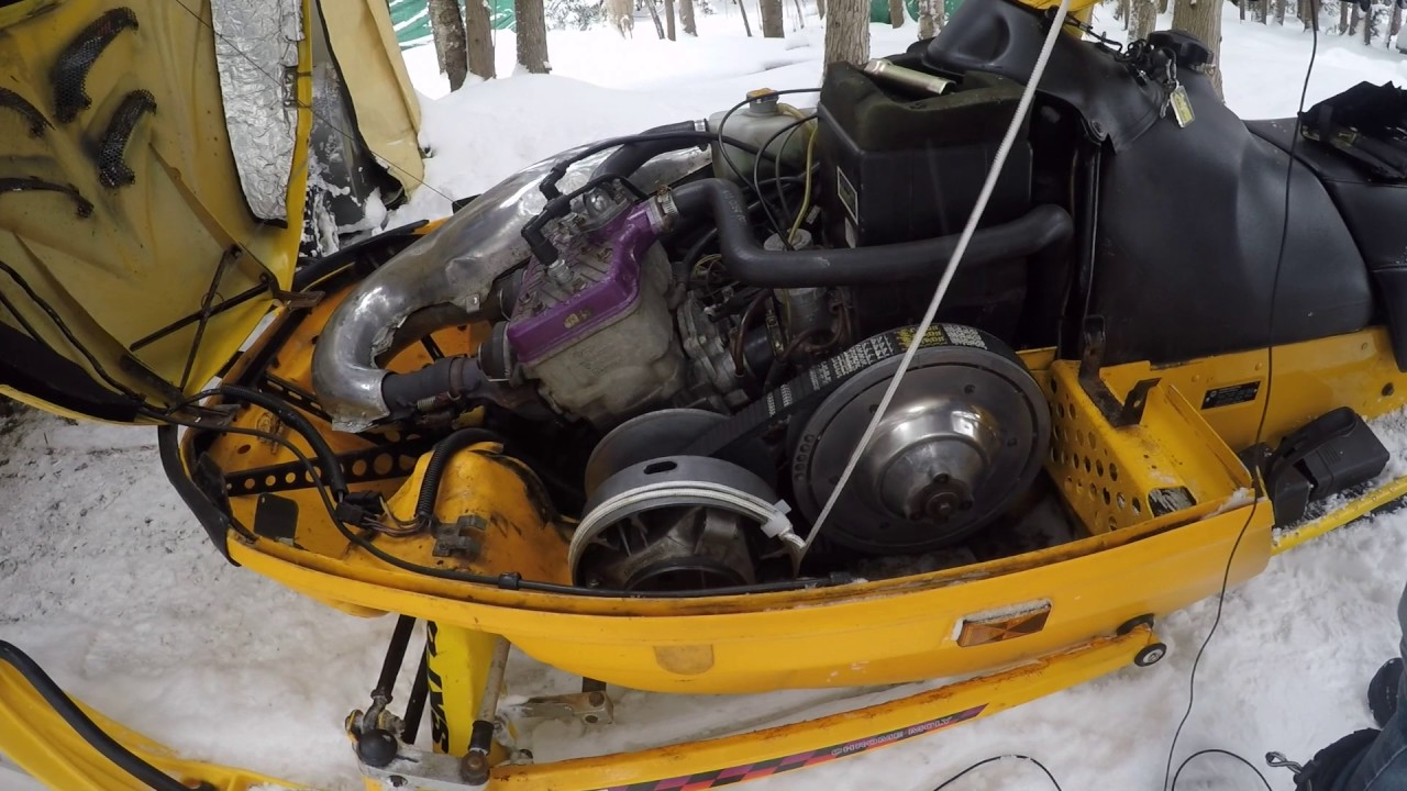 How To Start A Ski Doo Snowmobile With A Broken Recoil Starter Pull Start Youtube