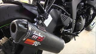 Sport Bike Exhaust Jardine RT 5 Sound Revving Slip On Kawasaki Ninja ZX6R Monster SE Walk Around