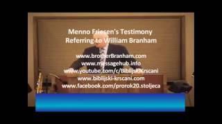Menno Friesen's Testimony Referring to William Branham