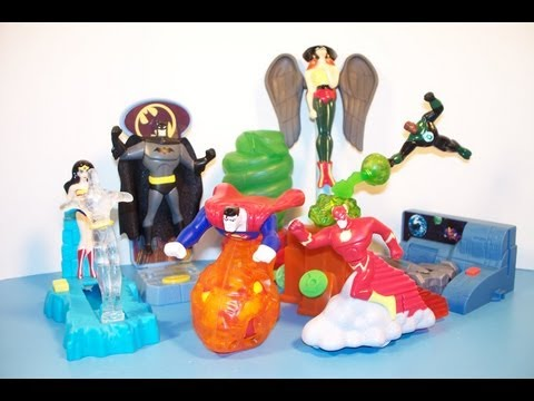 2003 DC JUSTICE LEAGUE ADVENTURES SET OF 8 BURGER KING KIDS MEAL TOYS VIDEO REVIEW