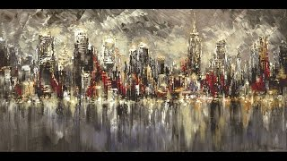 New York City large skyline painting live palette knife demo speed Tatiana iliina