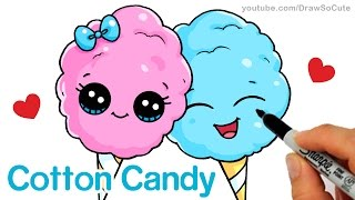 How to Draw Cartoon Cotton Candy Cute and Easy Step by step