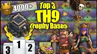 TOP 3 BEST TH9 [Town Hall 9] Trophy Pushing Bases! Anti 2 Star, Anti Lavaloonion - Clash Of Clans