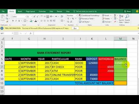 bank statement formula excel