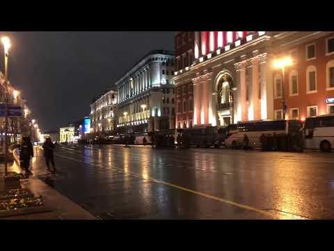 Пешая репетиция механиков-водителей прохода военной техники на параде Победы в Москве