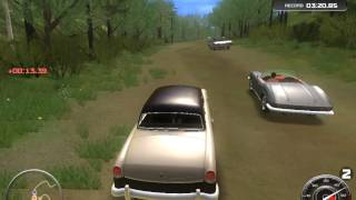 CLASSIC CAR RACING VIDEO GAMEPLAY / WHITE CAR IN FOREST