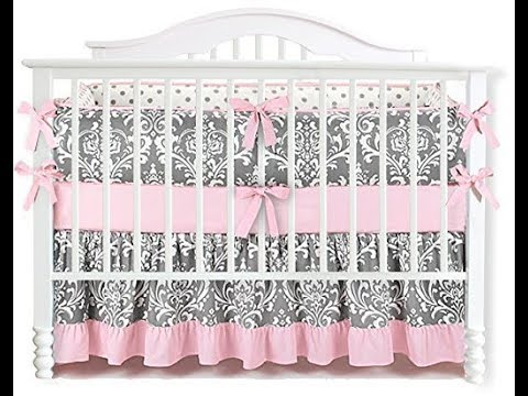 7 Pieces Set Ruffle Grey Pink Floral Baby Crib Nursery Bedding Set Ruffle Sheet