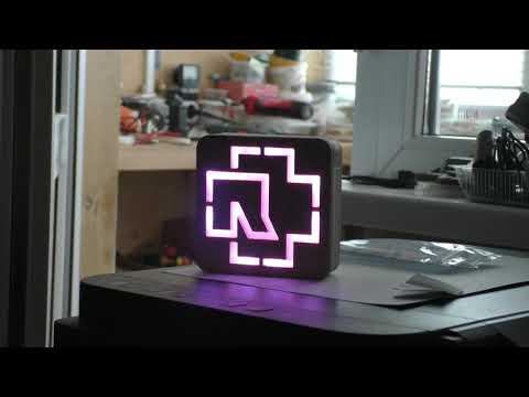 Logo Rammstein Wood+epoxy+led rgb