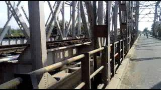 double line single lane rail road bridge at new farakka