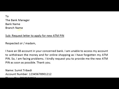 application letter to bank manager for unblock atm card