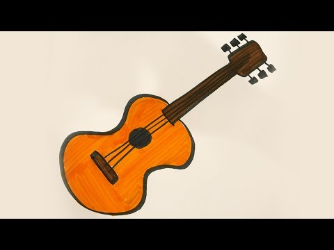 How To Draw And Color A Guitar For Kids