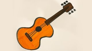How to draw and color a Guitar -for kids!