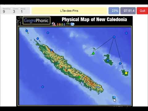 Pysical map of New Caledonia, New Caledonian barrier reef, geography game run