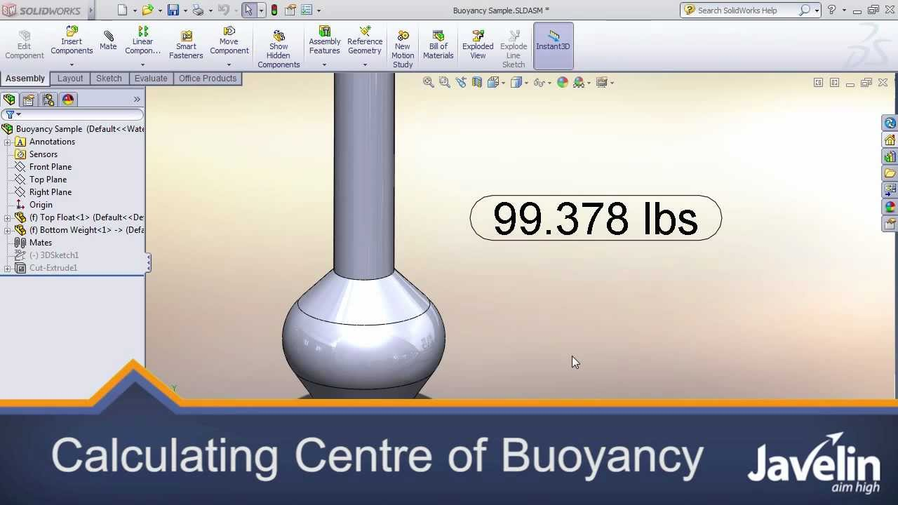Calculating Centre of Buoyancy in SolidWorks