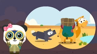 Baby learns animals with little Panda explorer - Animals in the desert