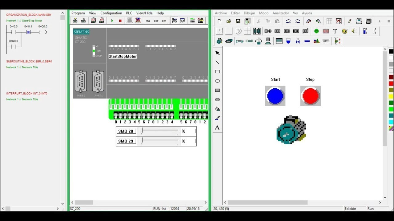 Siemens PLC Code & Simulation ''S7-200 Simulator'' with ''PC-Simu''
