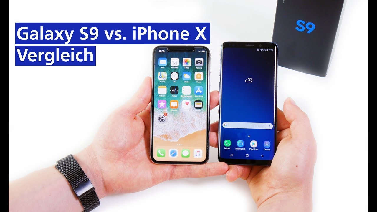 samsung galaxy s9 vs iphone x im vergleich deutsch hd. Black Bedroom Furniture Sets. Home Design Ideas